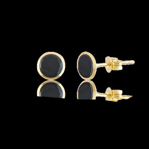 Altın 6 mm Sıvama Siyah Renk Vidalı Küpe
