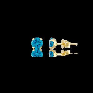 Altın 5 mm Tırnaklı Aqua Marine Renk Vidalı Küpe
