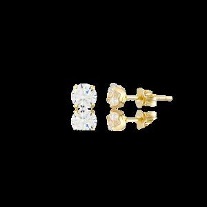 Altın 5 mm Tırnaklı Beyaz Renk Vidalı Küpe