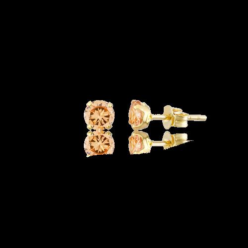 Altın 5 mm Tırnaklı Şampanya Renk Vidalı Küpe