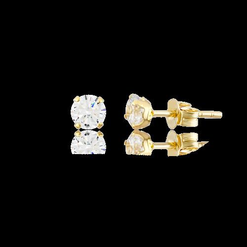 Altın 6 mm Tırnaklı Beyaz Renk Vidalı Küpe