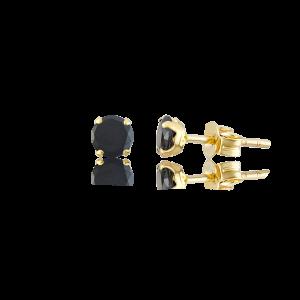 Altın 6 mm Tırnaklı Siyah Renk Vidalı Küpe