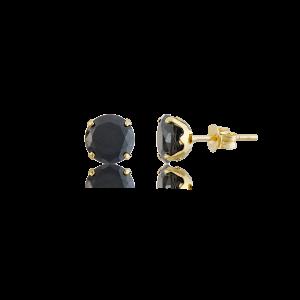 Altın 7 mm Tırnaklı Siyah Renk Vidalı Küpe